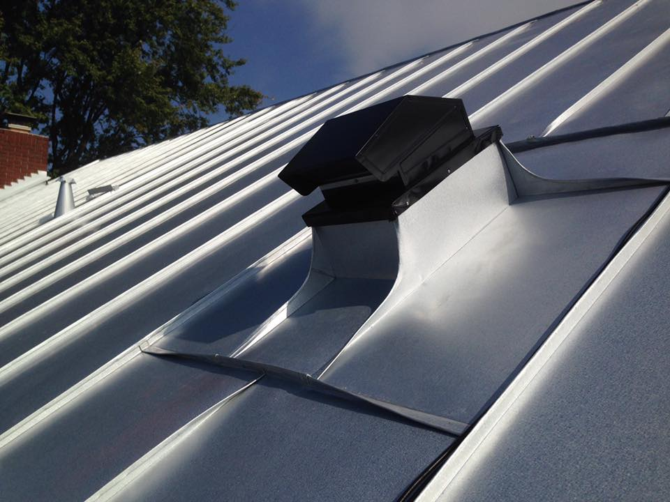 Custom Exhaust Vent Final Installation Vent Has Been Seamed Into Roofing  For A Maintenance Free, Lifetime Detail.