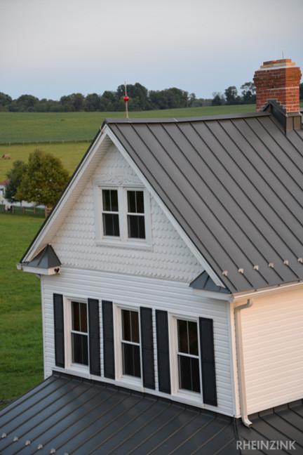 Rheinzink roof houzz article hardin roofing exteriors for Metal roof farmhouse